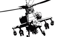 Vector Apache Helicopter Gunships Silhouette