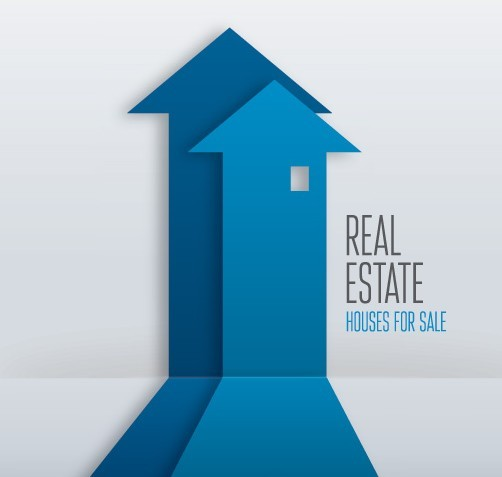 Creative Blue Real Estate Arrow Design Vector
