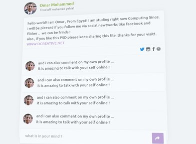 Flat Profile and Comment PSD Template