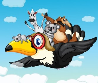 Vector Cartoon Animals and Children Illustration 01