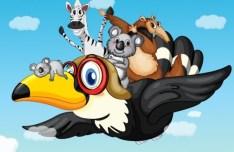 Vector Cartoon Animals and Children Illustration 01