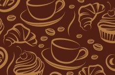 Vector Sketch Foods and Drinks Patterns 01