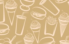 Vector Sketch Foods and Drinks Patterns 05