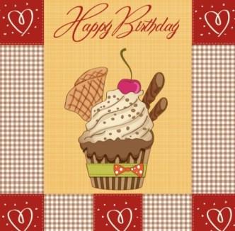 Cute Cartoon Happy Birthday Card Design Vector 01