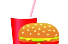 Flat Hamburger and Drink Vector Illustration