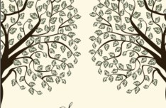 Hand Drawn Vector Green Tree and Bird Illustration 01
