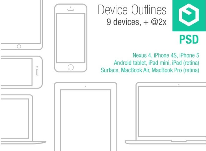 Mobile Device Outlines PSD