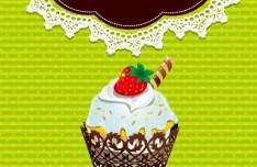 Sweet Floral and Dessert Invitation Card Design Vector 02