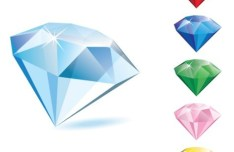 3D Colorful Diamonds Vector 03