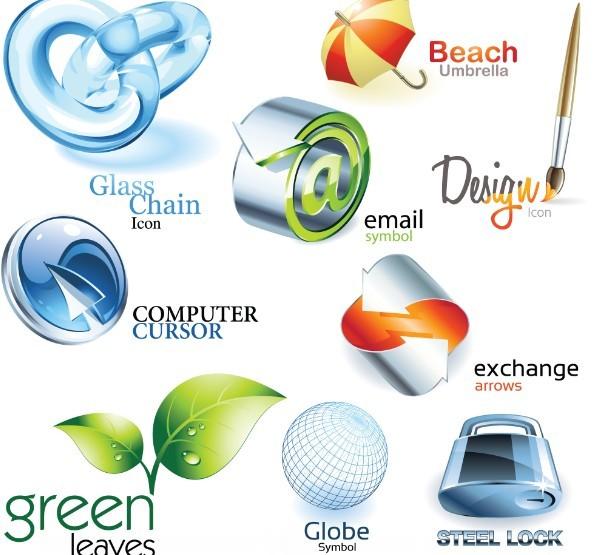 Set Of 3D Sleek Life Style Icons Vector