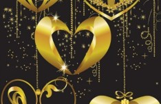 Vector Gold Heart Pendants For Valentine's Day 03