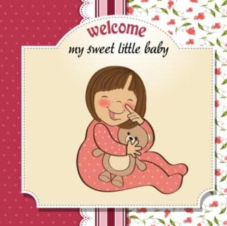 Elegant Cute Cartoon Baby Card Cover Vector 01