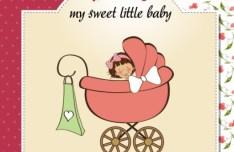 Elegant Cute Cartoon Baby Card Cover Vector 02
