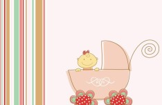 Pink Cartoon Baby In the Baby Carriage Illustration Vector