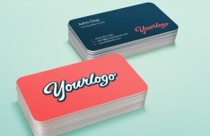 Blue and Red Stack Business Cards PSD Mockup
