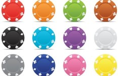 Colorful Bargaining Chip Shape Plates Vector
