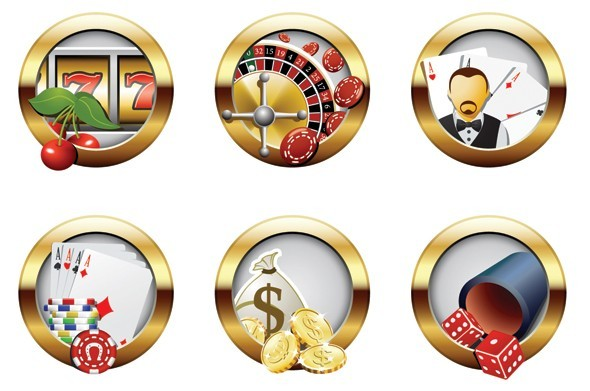 Set Of Vector Round Casino Icons With Golden Borders