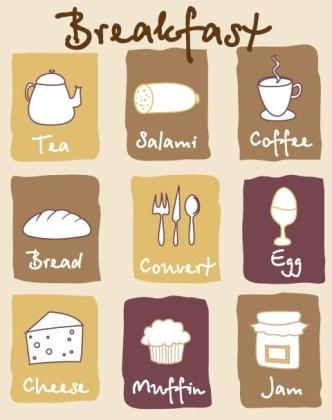 Hand Drawn Breakfast Icon Set Vector