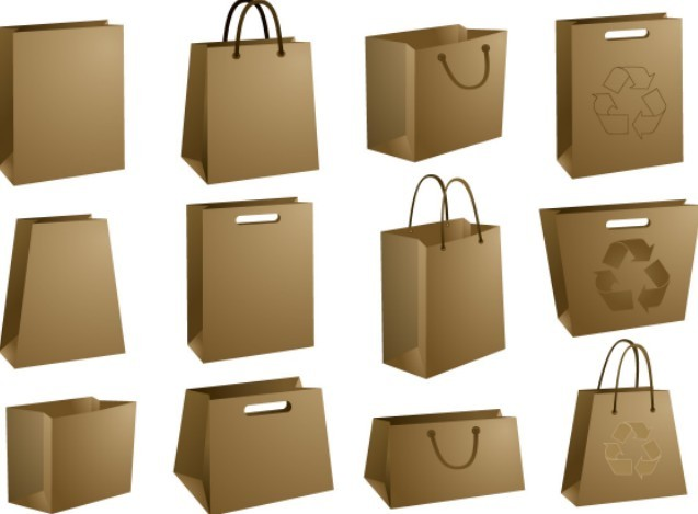 Set Of Recyclable Kraft Shopping Bags Vector