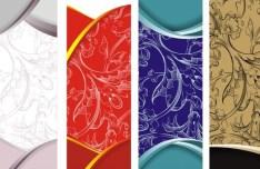 Set Of Vector Vintage Floral Banner Designs