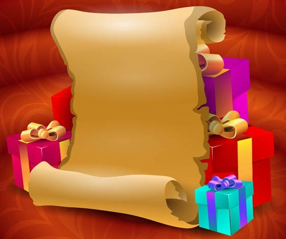 Shabby Festive Roll and Gift Boxes Vector 01