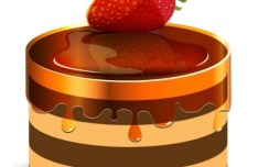Sweet Strawberry Cake Vector