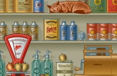 Vector Retro Grocery Store Design Elements 01