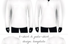 White T-shirt and Polo-shirt Templates Vector 02