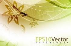 Fresh Swirl Floral Background Vector 05