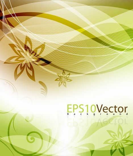 Fresh Swirl Floral Background Vector 05