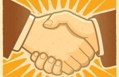 Vintage Handshake Illustration Vector