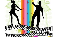 Music Concept Silhouetted Man and Woman Vector
