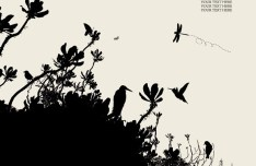 Vector Trees and Birds Silhouette 01