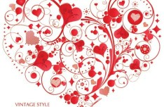 Vintage Style Floral Ornamental Love Heart Vector 05