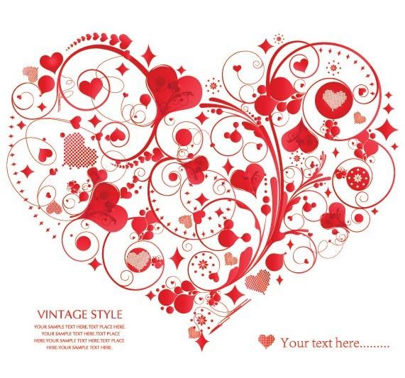 Vintage Style Floral Ornamental Love Heart Vector 05