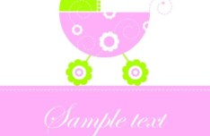 Cute Pink Baby Card Template Vector