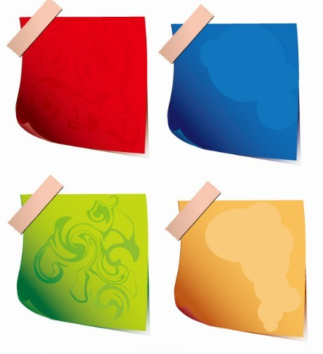 Set Of Vector Cartoon Sticky Notes For Kids 01