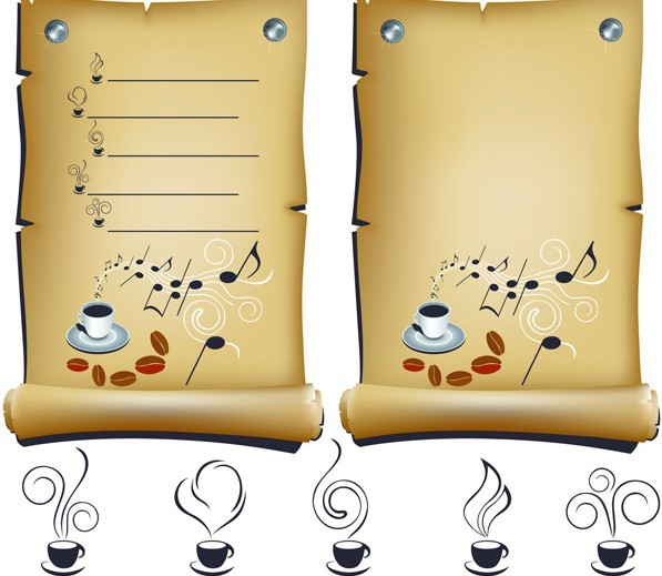 Vector Music and Coffee Paper Scrolls