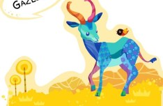 Cute Cartoon Gazelle Illustration Vector