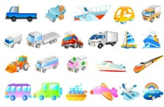 Set Of Vector Cartoon Transport Vehicle Icons