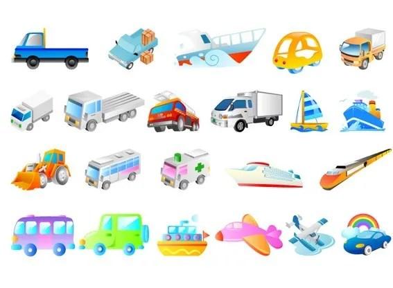 Set Of Vector Cartoon Transport Vehicle Icons