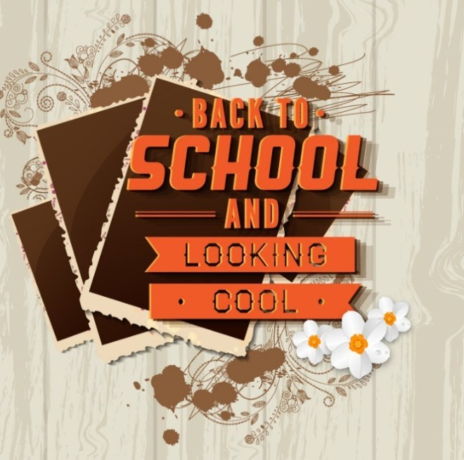 Back To School Poster With Photo Frame and Floral Background Vector