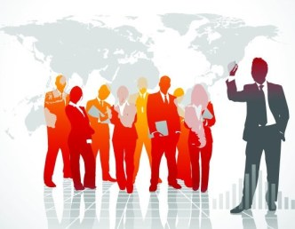 Business Men Silhouettes With World Map Background 04