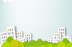 Fresh Cartoon Green City Vector Clip Art