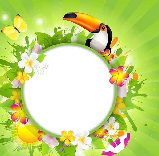 Fresh Summer Garland Frame Vector 04