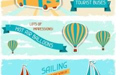 Retro Summer Holiday Vacation Banners Vector