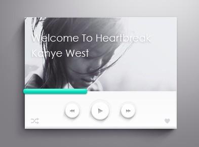 Stylish Light Music Player Widget PSD