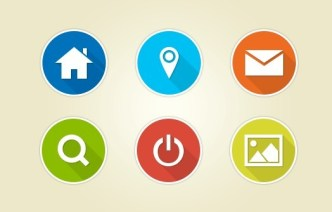 18 Circular Flat Web Icons With White Border