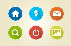 18 Circular Flat Web Icons With White Border