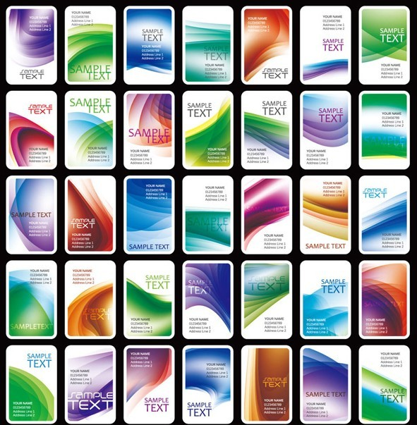 Collection Of Vector Rounded Vertical Card Templates 02
